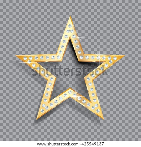 transparent golden star with diamonds, vector template for cosmetics, show business or something else - stock vector