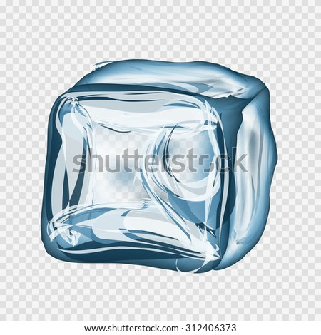 Transparent ice cube in blue colors on light gray background. Vector illustration EPS 10. - stock vector