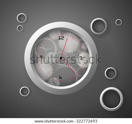 transparent mechanical ring watch with red hand-hour and metallic rings, abstract watch, vector, - stock vector