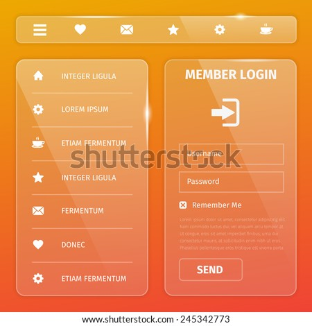 Transparent mobile and web UI template design. Vector eps10 illustration. Member login, horizontal and vertical navigation, button, icons. - stock vector