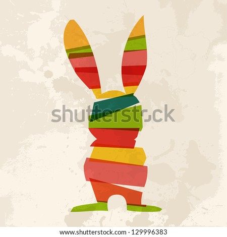Transparent multicolored Easter bunny over grunge background. EPS10 file version. This illustration contains transparencies and is layered for easy manipulation and custom coloring - stock vector