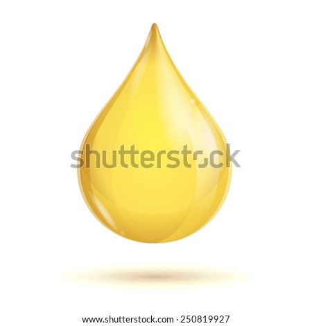 Transparent oil drop isolated on white background - stock vector