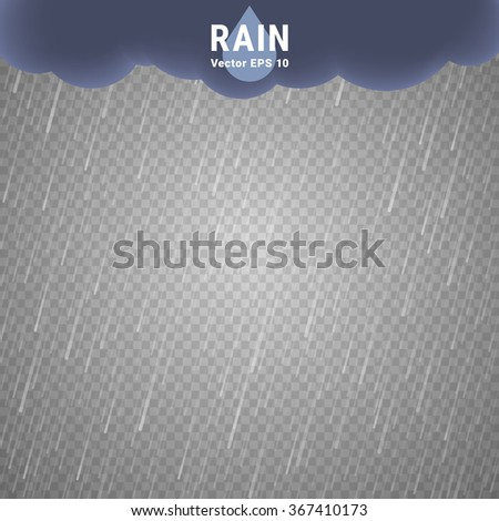 Transparent Rain Image. Vector Rainy Cloudy background - stock vector