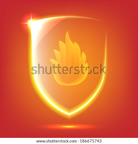 Transparent red glass shield icon with fire - stock vector