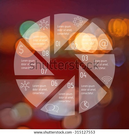 Transparent round infographic diagram on blurred bokeh background. Circular connected chart with 8 options. Paper progress steps for tutorial. Business concept sequence banner. EPS10 workflow layout. - stock vector