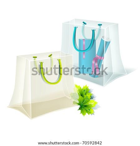 Transparent shopping bags. Vector. - stock vector