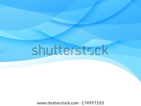 Transparent smooth blue waves background. Vector illustration - stock vector