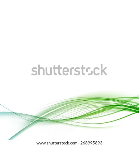 Transparent smooth swoosh abstract halftone background green blue line layout. Vector illustration - stock vector