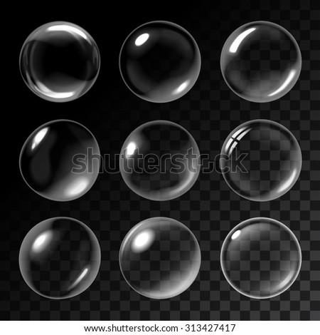 Transparent soap bubbles - stock vector