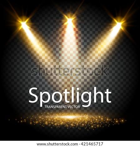 Transparent Spotlight. Scene Illumination. Light Effect. Vector illustration - stock vector