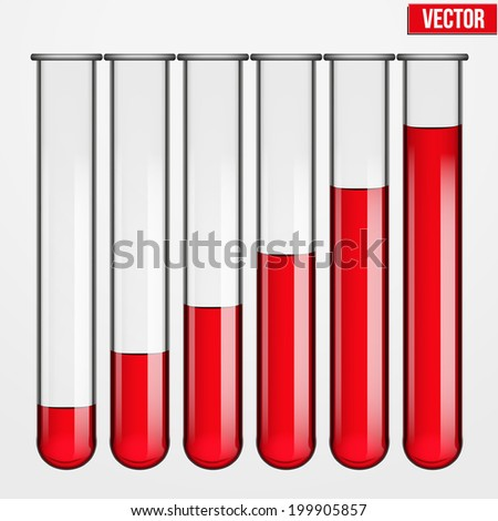 Transparent test tubes with liquid at various levels. Vector illustration. Isolated on white background - stock vector