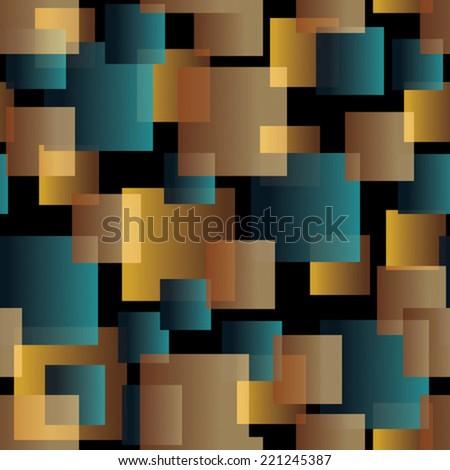 transparent tiles blue, orange on black seamless pattern - stock vector