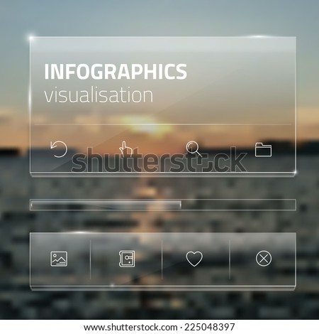 Transparent ui collection of various resources/tools for web and mobile design. Modern and minimalistic interface template with line icons on a blurred background.  - stock vector