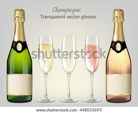 Transparent vector glasses and bottles of champagne and empty glass - stock vector