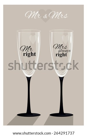Transparent vector wineglass. Goblets with the inscription Mister Right and Misses always right. A humorous gift for newlyweds and couples. Fun gift. - stock vector