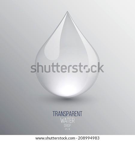 Transparent water drop on light gray background. Vector - stock vector