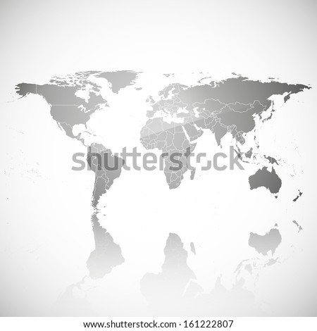 transparent world map with shadow on a gray background vector - stock vector