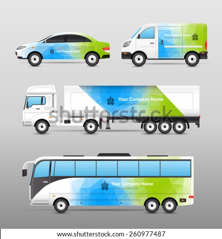 Transport advertisement design in blue and green abstract template decorative icons set isolated vector illustration - stock vector