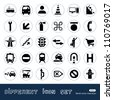 Transport and road signs urban web icons set. Hand drawn sketch illustration isolated on white background - stock vector
