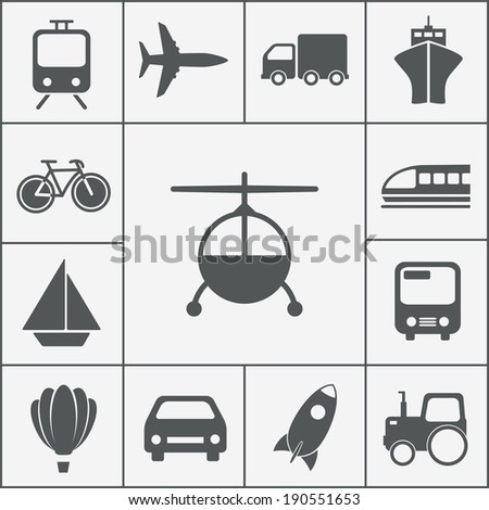 transport and transportation icons vector set from rocket to bicycle - stock vector