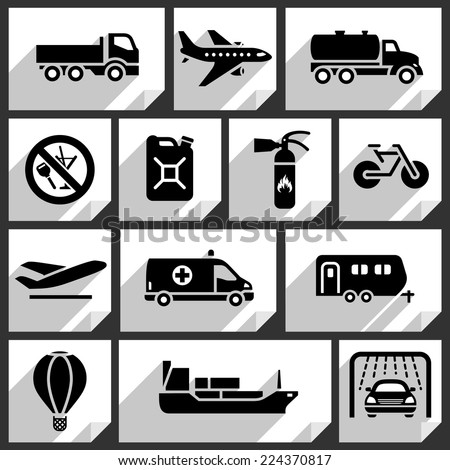 Transport black icons on white paper stickers-02 - stock vector