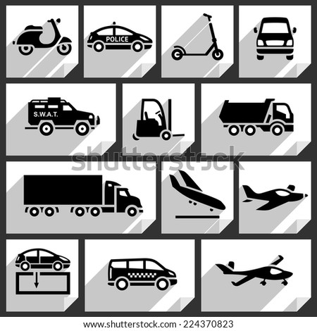 Transport black icons on white paper stickers-05 - stock vector