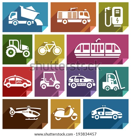 Transport flat icons with shadow, stickers square shapes, retro colors - Set 06 - stock vector