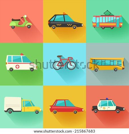 Transport flat vector icons. 9 colorful urban city vehicles including tram, ambulance, taxi cab, police car.  - stock vector