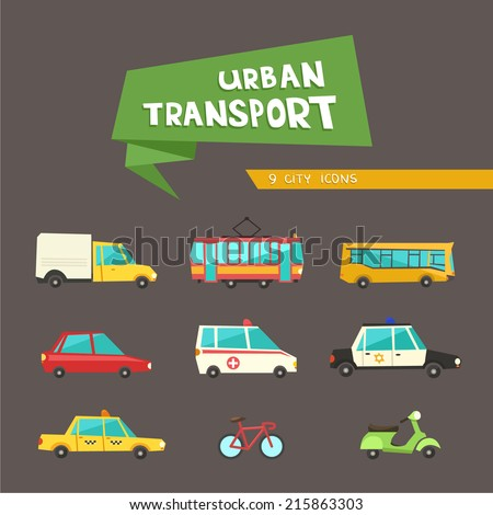Transport flat vector icons on dark background. 9 colorful urban city vehicles including tram, ambulance, taxi cab, police car.  - stock vector