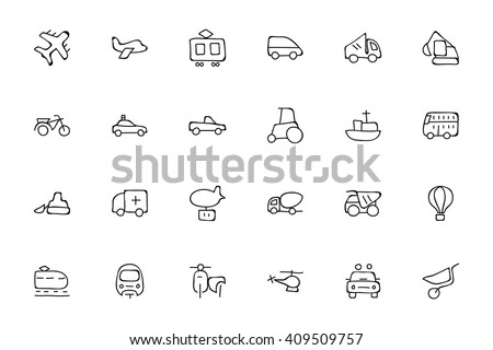 Transport Hand Drawn Doodle Icons 2 - stock vector