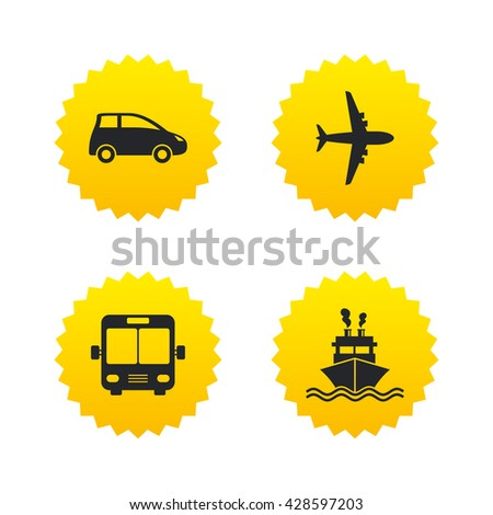 Transport icons. Car, Airplane, Public bus and Ship signs. Shipping delivery symbol. Air mail delivery sign. Yellow stars labels with flat icons. Vector - stock vector