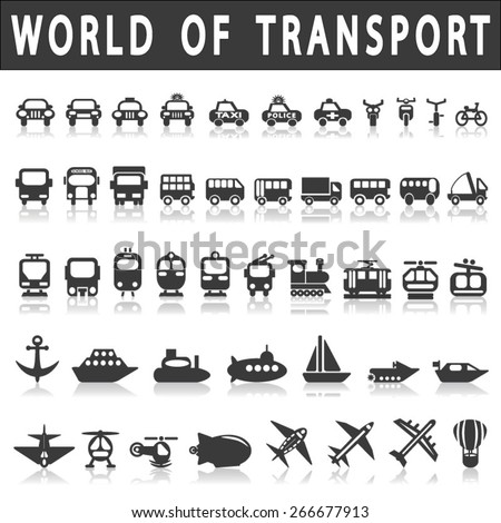 Transport icons: Cars, Ships, Trains, Planes, vector illustrations, set silhouettes isolated on white background. - stock vector