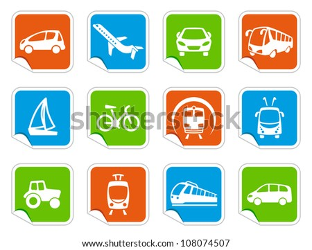Transport icons on stickers - stock vector