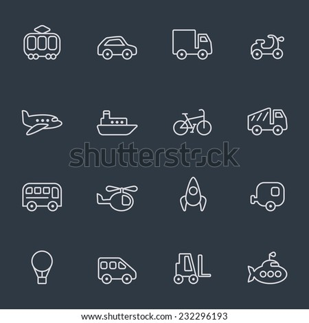 Transport icons, thin line design, dark background - stock vector