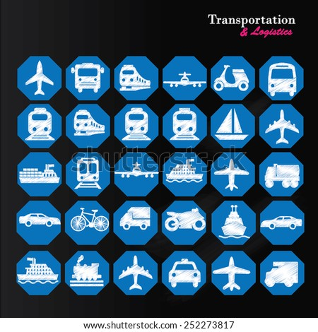 Transport icons,transportation icon on chalkboard,transportation vector illustration,logistics,logistic icon vector         - stock vector