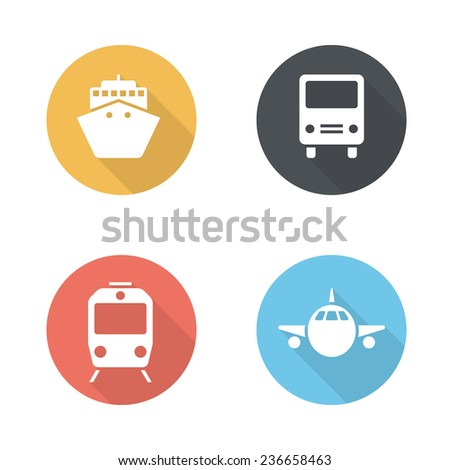 Transport icons with ship, bus, train and airplane. Flat design style - stock vector