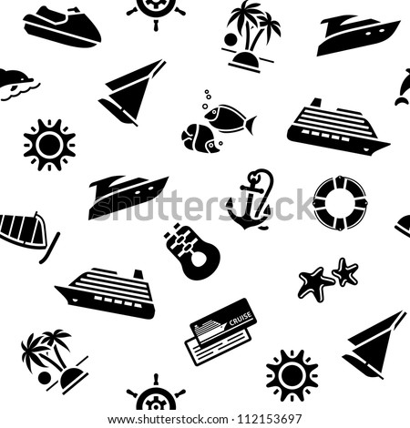 Transport icons, wrapping paper - Travel wallpaper, 10 eps - stock vector