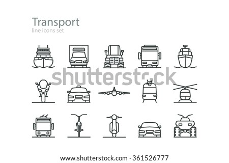 Transport. Line icons set. Colorless. Stock vector. - stock vector