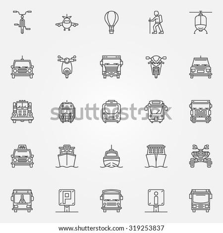 Transport linear icons - vector set of thin line transportation symbols or logo elements - stock vector