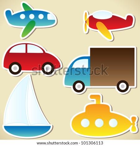 Transport set - cartoon car, truck, submarine, ship, plane - stock vector