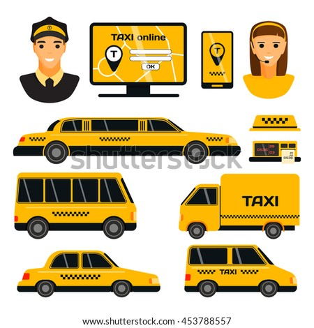 Transport set of taxi vector objects silhouette on white background. Taxi transport travel cab vehicle shipping tourist silhouette. Passenger street yellow road delivery taxi transport. - stock vector