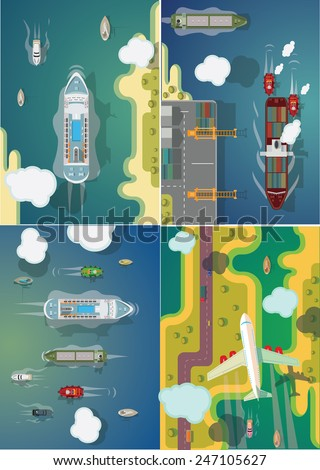 Transport ships and planes set of vector images. - stock vector