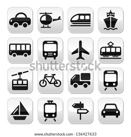 Transport, travel vector buttons set isoalated on white - stock vector