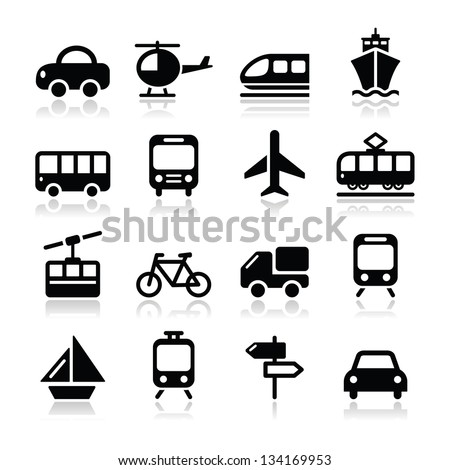 Transport, travel vector icons set isoalted on white - stock vector