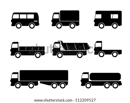 Transport truck icons - stock vector