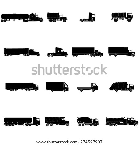 Transport Trucks Icon Set - stock vector