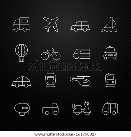 transport vector thin line symbol icon on black background - stock vector