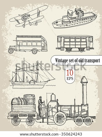 transport. vintage set - stock vector