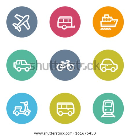 Transport web icons, color circle buttons - stock vector