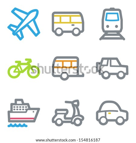 Transport web icons, color line contour series - stock vector